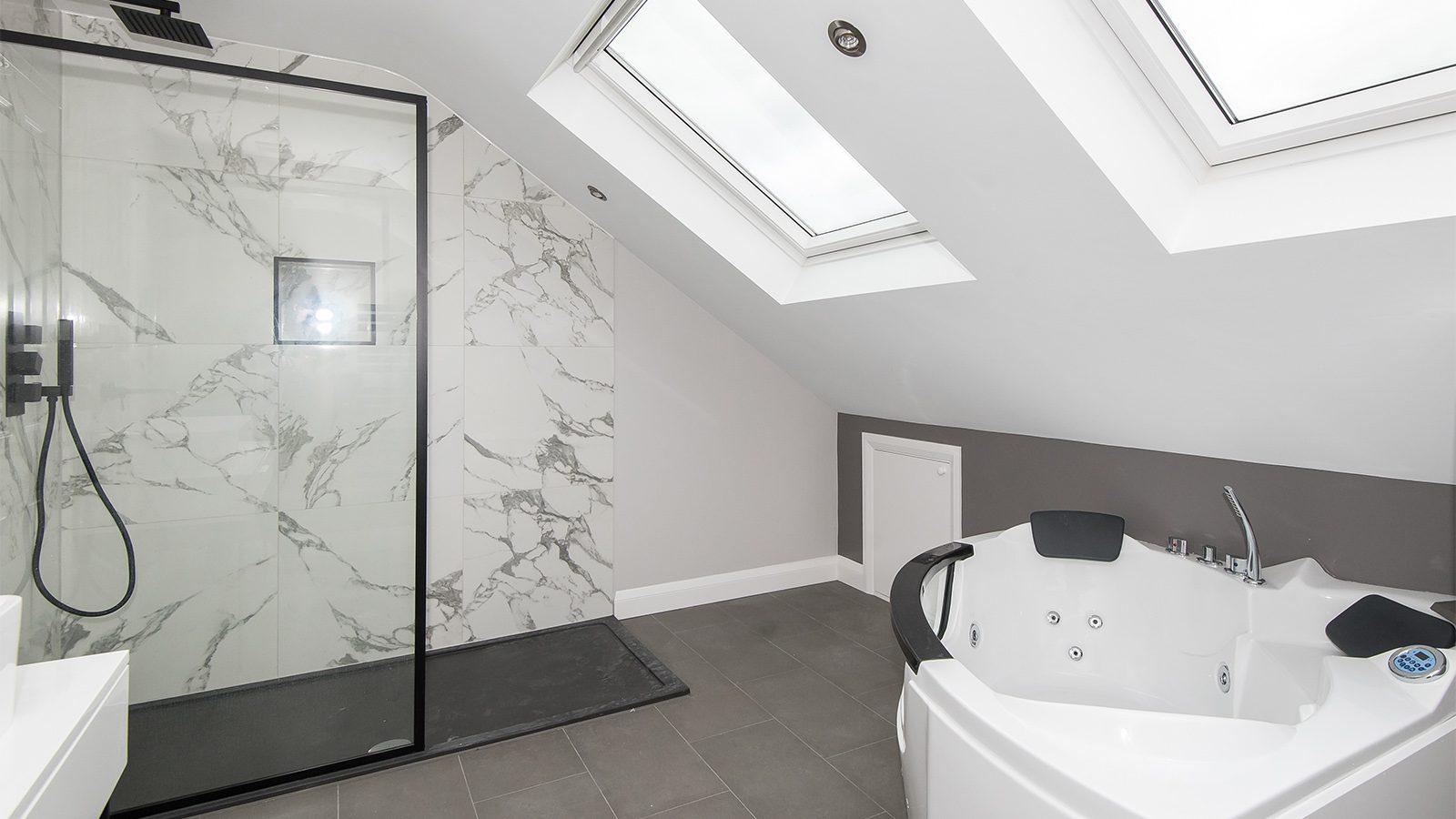 bath and shower loft conversion bathroom